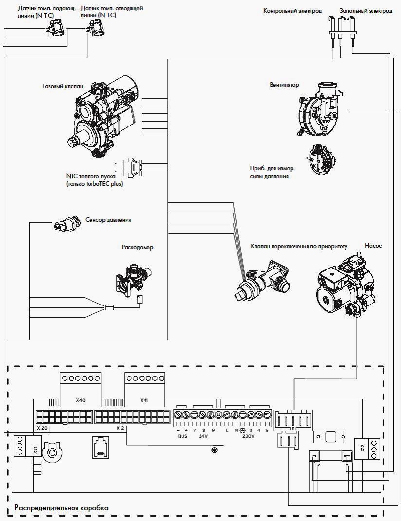 Электрическая схема подключения газового котла vaillant